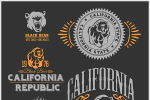 Set of stylish retro badges with bears - California Republic.