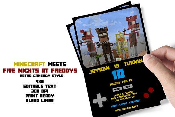 Minecraft Meets FNAF Bday Flyer