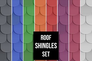 Set of Shingles roof seamless patterns