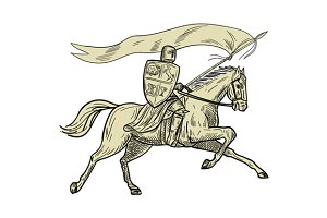 Knight Riding Horse Shield