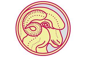 Merino Ram Sheep Head Circle