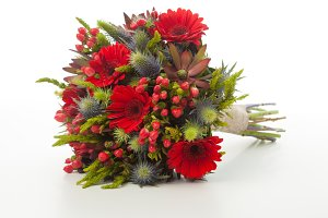 Red gerber flowers bridal bouquet