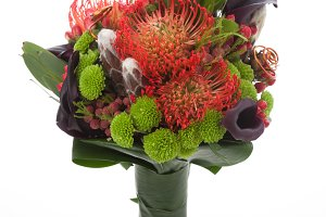 Bridal bouquet with protea flowers