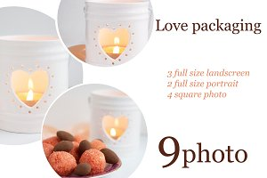 Love pack with candle and candies