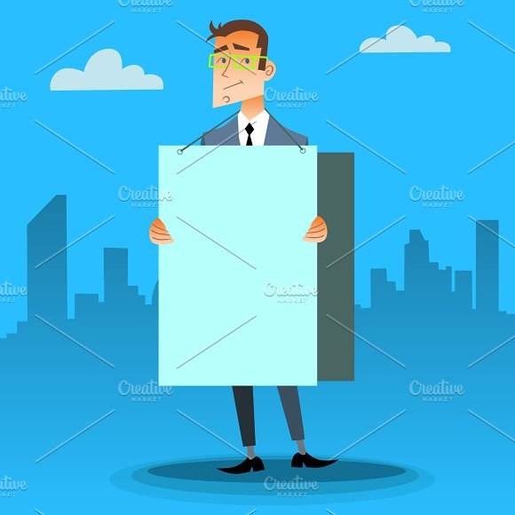 Businessman With A Poster And Place For Text