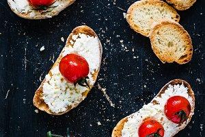 Roasted tomato and cheese bruschetta