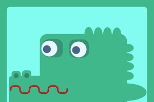 crocodile stylized cartoon icon