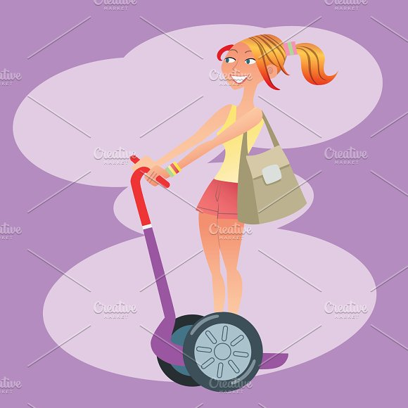 Girl Tourist Traveling On A Scooter