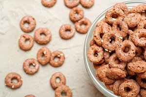 Chocolate cereal rings breackfast