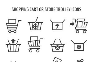 Shopping cart icons for web e-commerce