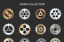 Metal gears or clock cogwheels icons