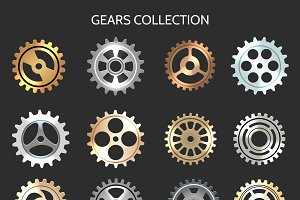 Metal gears or clock cogwheels icons