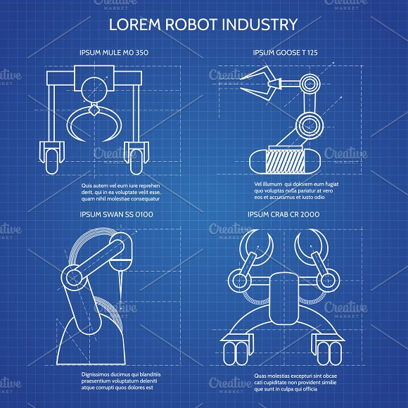 Robot arms blueprint objects creative market robot arms blueprint objects malvernweather Gallery