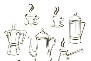 Coffee sketch vector collection