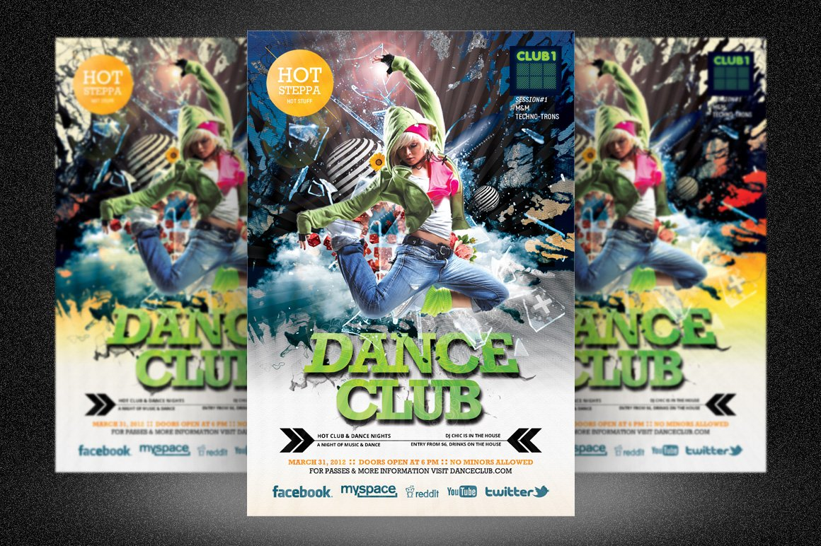 dance party club flyer flyer templates creative market