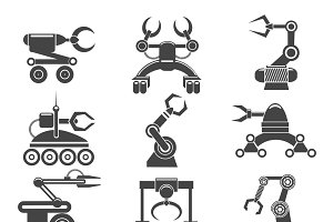 Robot arms black icons