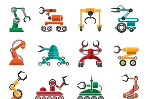 Manufacturing robotic auto hands icons