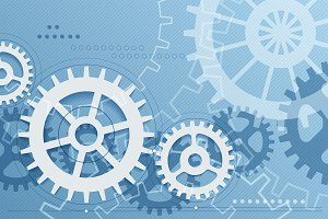 Gears blue background