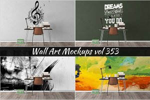 Wall Mockup - Sticker Mockup Vol 353