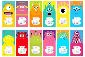 Monster monthly calendar 2017
