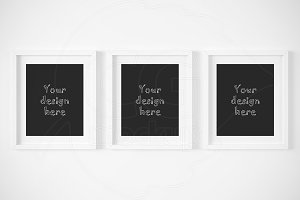 Set x3 white matted frames mockup