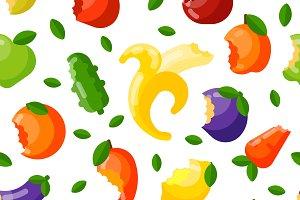 Bitten fruits vector seamless pattern.