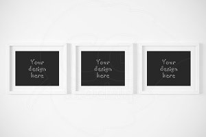 Three horizontal frames mockup