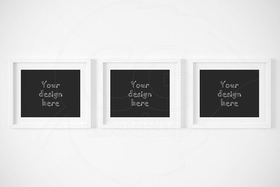 8c3b309fd0c5 Three horizontal frames mockup ~ Print Mockups ~ Creative Market