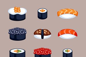 Sushi food vector illustration.
