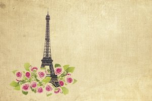 Eifel tower and roses.