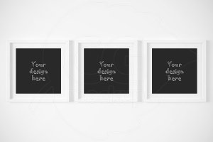 Set of 3 square matted frame mockups