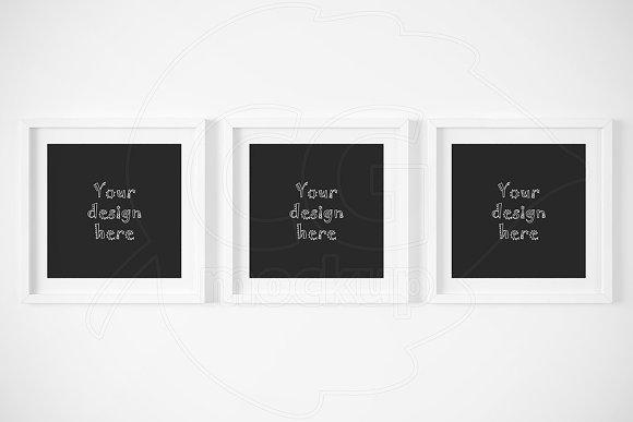 Set of 3 square matted frame mockups ~ Product Mockups ~ Creative Market