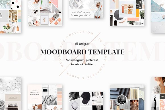Mood board templates web elements creative market for Fashion mood board template