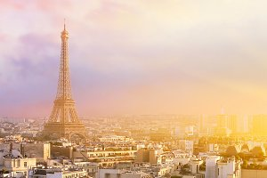 View of Eiffel tower and Paris.