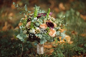 Bride's Bouquet on Green Grass
