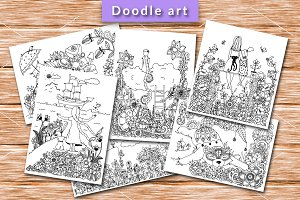 Doodle Set 6 girl and animals