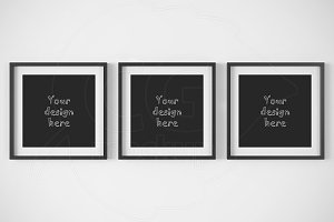 Set x3 black square frame mockup