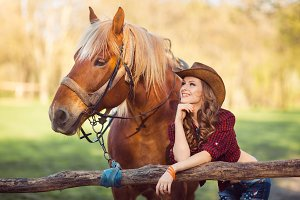 Woman and Horse. Wild West Retro Style