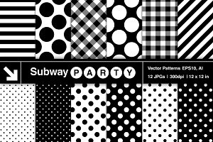 Vector Polka Dots, Stripes & Gingham