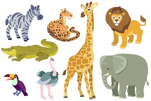 African animals set. Vector.