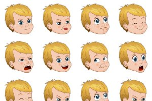 Big set of cute little boy faces showing different emotions vector illustration