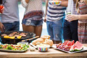 Table laid with food for outdoors barbecue party