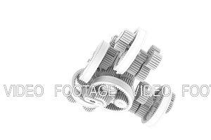 White gears rotation. Full HD 3d render