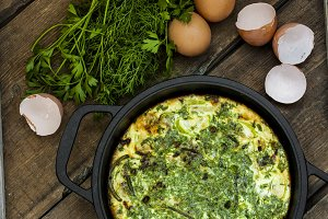 baked omelet with zucchini and herbs
