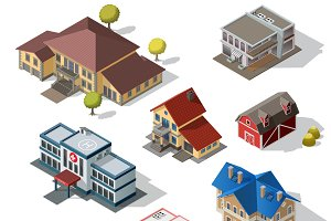 Isometric High Quality City Street Urban Buildings