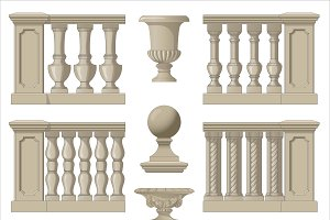 Outdoor and park elements balustrade , decorative vase ,set of landscape