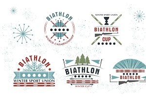 Biathlon logo Set. Vector Illustration. Winter sport Isolated badges collection for design
