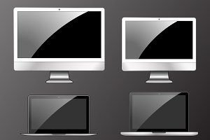 Vector illustration, set of modern electronic devices