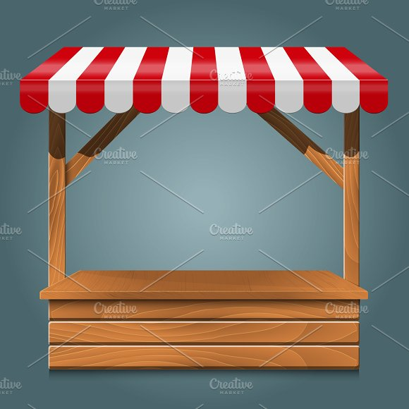 Street Stall With Red Awning And Wooden Rack