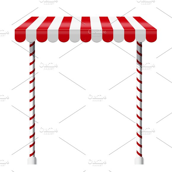 Sale Stand With Red Awning